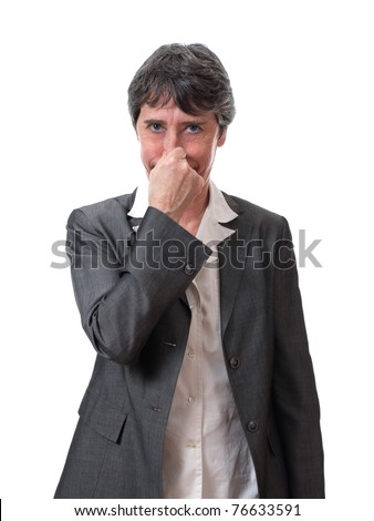 mature lady holding one's nose isolated on white - stock photo
