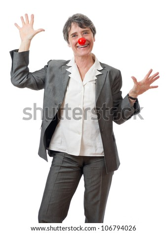 mature lady with red nose joking on white background - stock photo