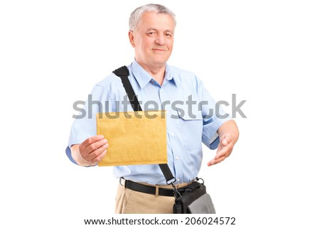 Mature mailman holding an envelope isolated on white background - stock photo
