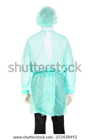 Mature male doctor with protective clothes. - stock photo