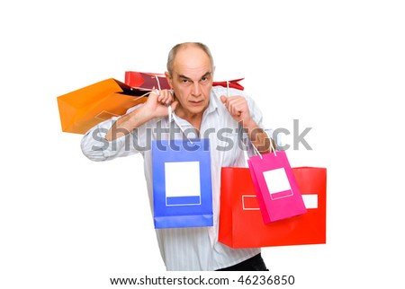mature man  bring a lot of color  paperbags isolated on white - stock photo