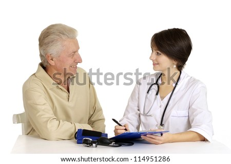 Mature man came to the reception to the doctor
