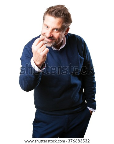 mature man doing a rich gesture