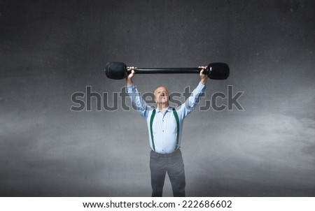 mature man fit his body - stock photo