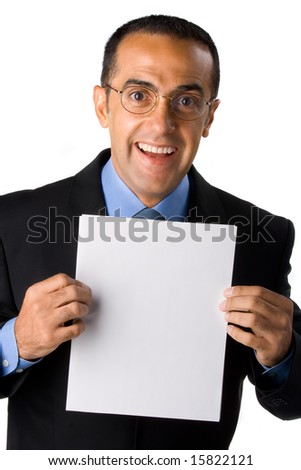 Mature man in black suit. White background with blank paper