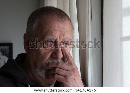mature man with beard dressed - stock photo