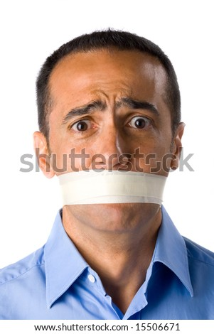 Mature man with blue shirt in white background. Closed mouth with masking tape