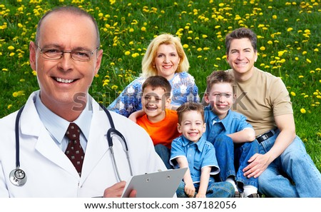 Mature medical doctor man and happy family. - stock photo