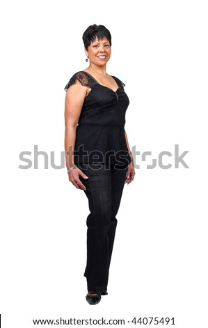 mature, middle aged woman isolated on white background - stock photo