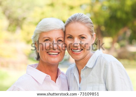 Mature mother with her daughter - stock photo