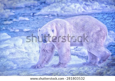Mature polar bear on shore of Hudson Bay in Canadian Arctic, digital oil painting on textured background - stock photo