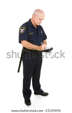 Mature police officer writing a ticket.  Full body isolated on white. - stock photo