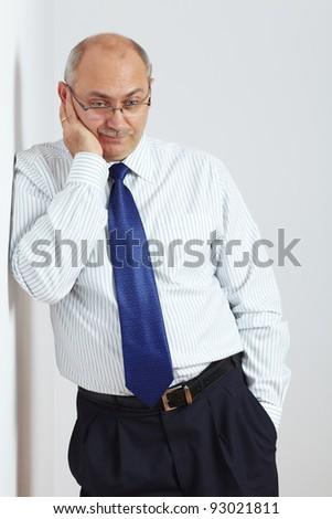Mature sad and stressed businessman - stock photo