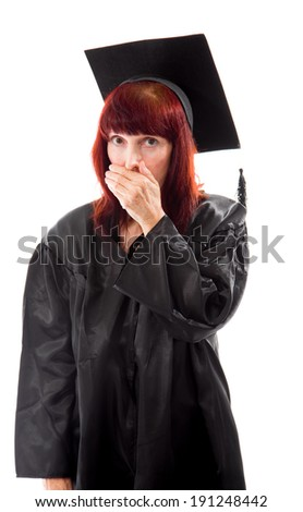 Mature student looking shocked - stock photo