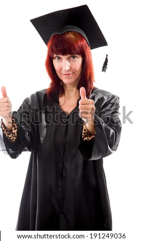 Mature student showing thumbs up sign with both hands