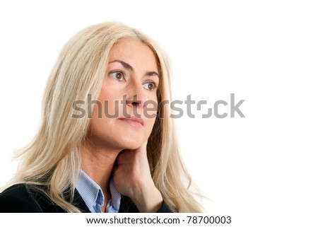 Mature thoughtful businesswoman portrait - stock photo