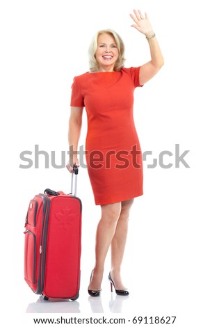 mature tourist woman with trunk. Isolated over white background