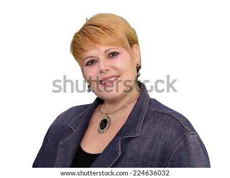 Mature Woman Body Language Expressions - Confident Smiling    - stock photo