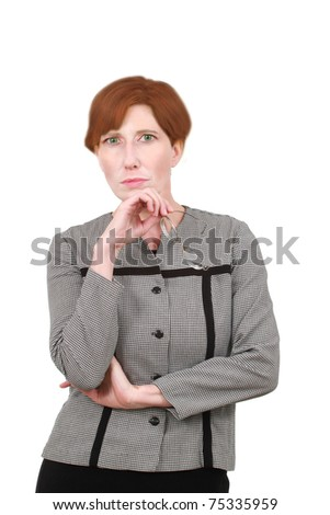 Mature woman in business suit - stock photo
