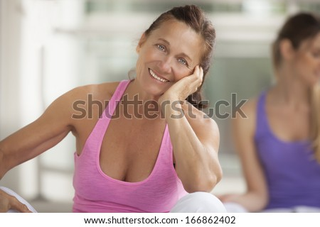 Mature woman in the foreground  - stock photo