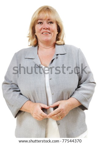 Mature woman looking straight in front - stock photo