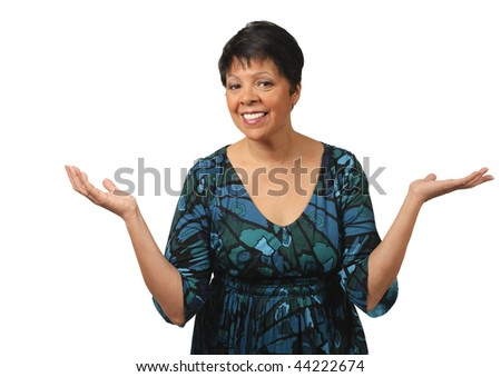 mature woman making a gesture 'what now' - stock photo