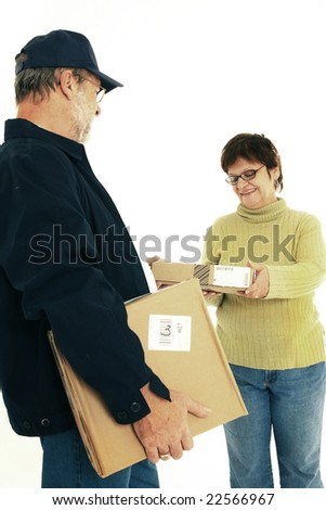 Mature woman receiving package - stock photo