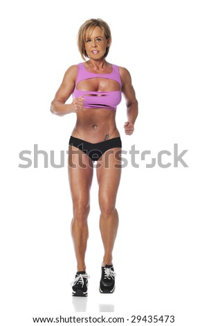 Mature woman running isolated on a white background