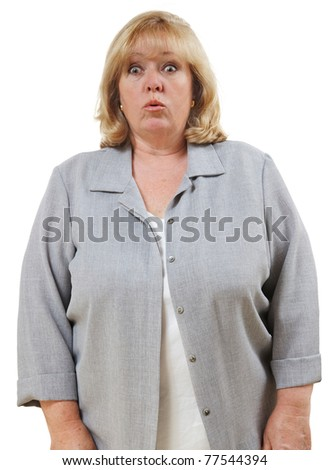 Mature woman's eyes get big with surprise and disbelief - stock photo