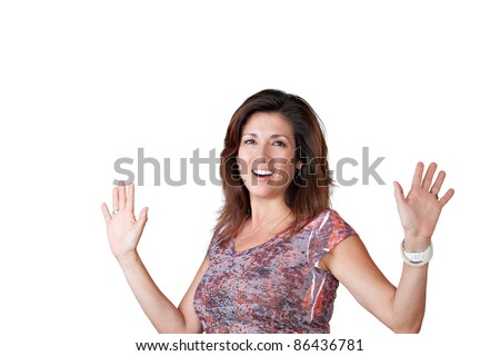 Mature woman showing palms of hands. - stock photo