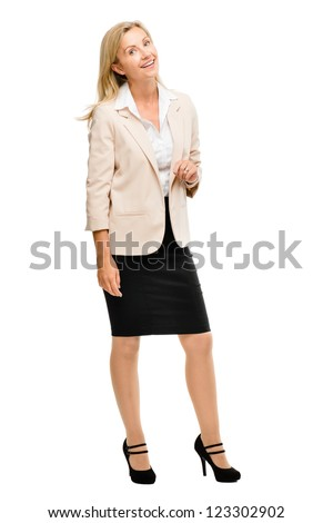 Mature woman smiling isolated on white background - stock photo