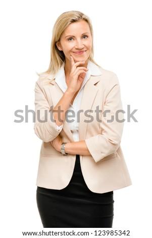 Mature woman thinking isolated on white background - stock photo