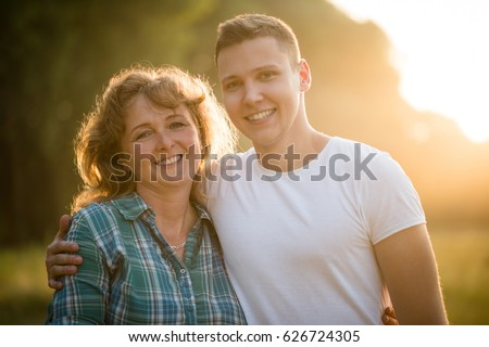 Mature Woman Her Adult Son Side Stock Photo 626724305 ...