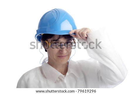 mature woman with protection helmet. isolated on white background - stock photo
