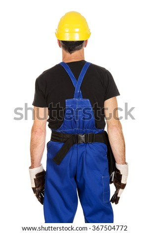 Mature worker with hard hat - stock photo