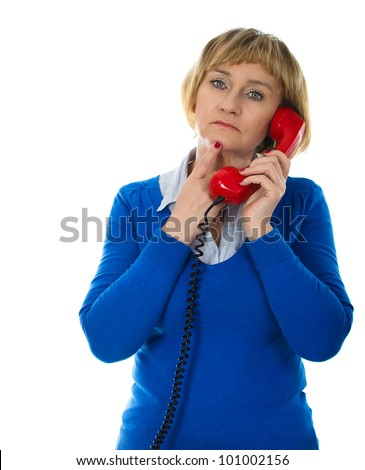 Mature 50 years old blonde woman during phone call - isolated on white background - stock photo