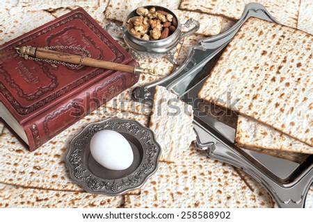 Matza bread for passover celebration - stock photo