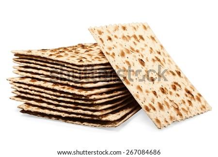 Matzah. Matzoh, the jewish easter bread isolated on white - stock photo