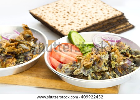 Matzo Brei - Passover Breakfast made from Matzo and egg fried together. - stock photo