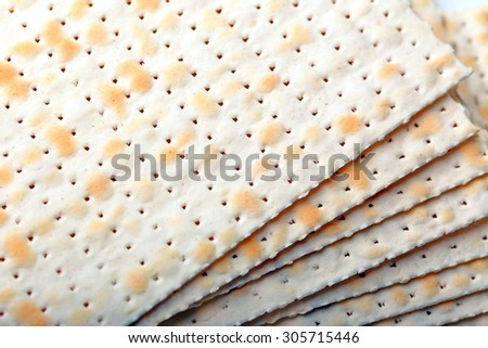 Matzo for Passover close up - stock photo