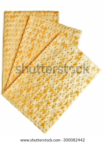 Matzo for Passover isolated on white - stock photo