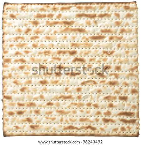 Matzo, isolated on white with clipping path - stock photo
