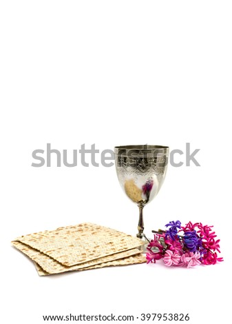 Matzo, wine and hyacinths for passover celebration on white background with space for text - stock photo