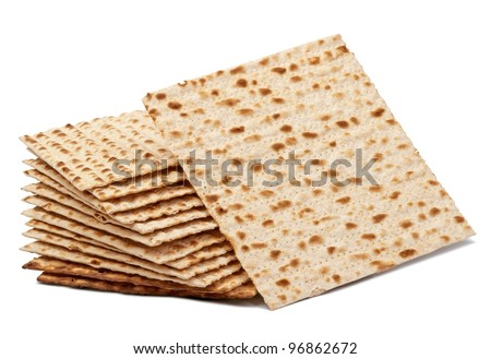Matzoh, the jewish easter bread isolated on white - stock photo