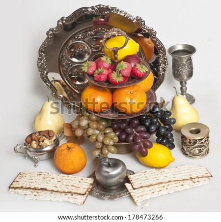 matzot with fruit - stock photo