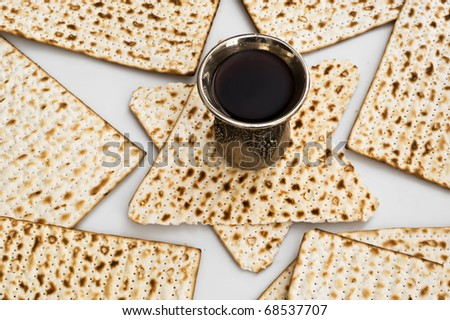 matzot with red wine - stock photo