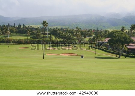 Maui Hawaii Golf Course - stock photo