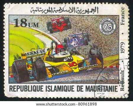 MAURITANIA - CIRCA 1979: stamp printed by Mauritania, shows formula 1, circa 1979. - stock photo