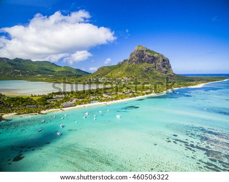 Mauritius beach island aerial view of Le Morne Brabant tropical Beach on south west