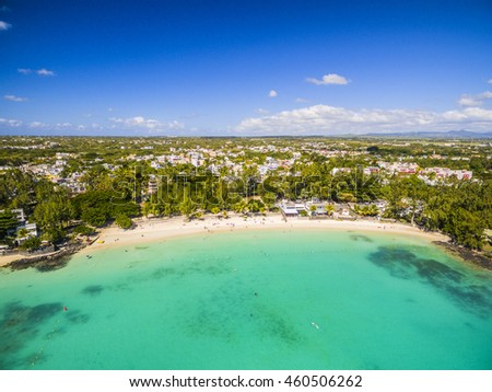 Mauritius beach island aerial view of Pereybere North in Grand Baie